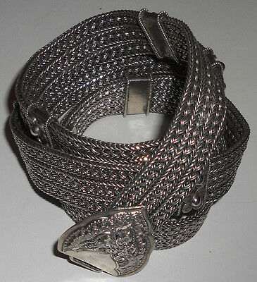 South East Asian High Grade Silver Belt Vge Woven Decorated Buckle SM 44%0ff