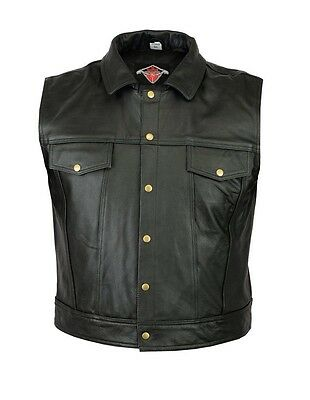 Real Leather Black Mens Bar Vest  Biker Cowhide Leather Waistcoat in all colors