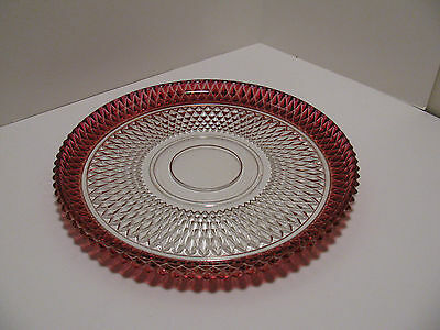 "Vintage Ruby Red Flash Glass - Diamond Point 12"" Round Serving Platter/Plate"