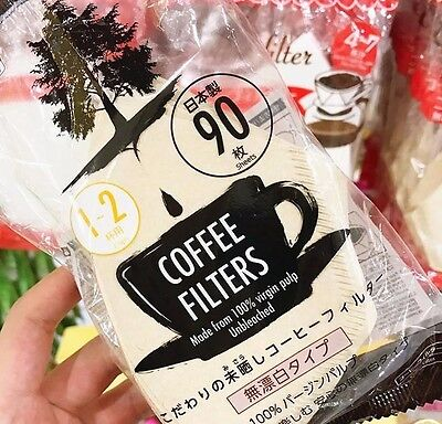 F/S Daiso Coffee Filter Paper For 1-2cups coffee 90pcs Unbleached Made in Japan