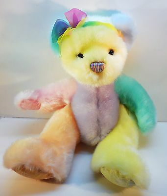 "First & Main Plush Bear, Sorbet, stuffed animal toy, 13"" multi-color pastel"