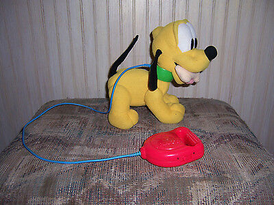 Disney Walk 'N Wag Pluto Wired Remote Plush Toy 1999 Mattel