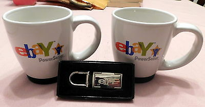 NIB Rare 2005 eBay Power Seller silver Key holder 2 15oz MUGS eBay CA Convention