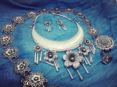 Vintage Necklace Earring Belt Thai Hmong Silver color design for wedding party 1