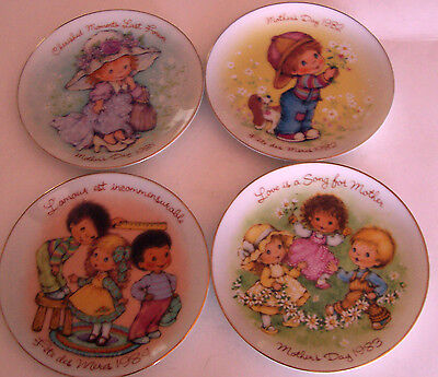 "Lot Of 4 Vintage Avon 5"" Mother's Day Plates - 1981-84 - Made In Japan"
