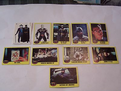 Lot Of 9 -1989 Batman Trading Cards Plus One Sticker Card