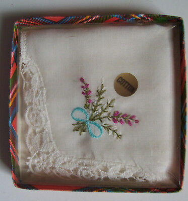 Beautiful Vintage Cotton Hankie - Floral Pattern- Original Box