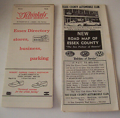 Vintage Road Map And Store Directory For Essex, Ontario, Canada