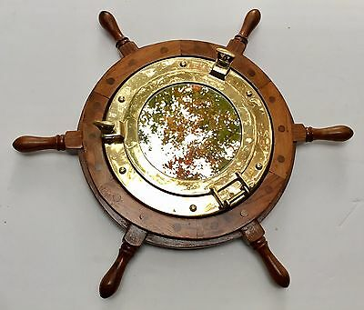 "Vintage Wall Hang Round Mirror Nautical Ship Wheel Porthole Brass Wood 19"" RARE"