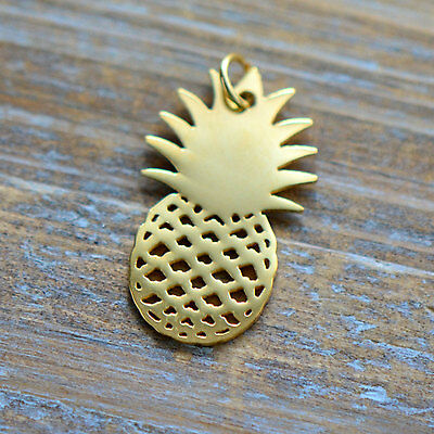 Pineapple Silhouette Charm Link Brushed 24k Gold Plated Stainless Steel Pendant