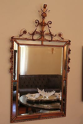 "French Hand Carved Wood Beveled Gilt Wood Wall Mirror  57"" x 32"""