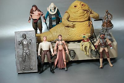 Vintage Star Wars Complete Jabba The Hutt Playset + 2 Action Figures Kenner