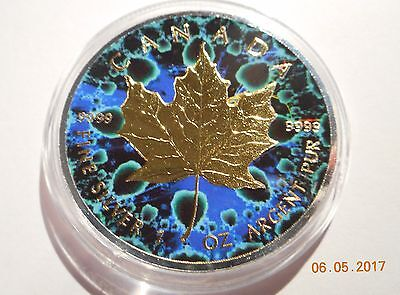 2016 1 Oz Ounce Canadian .9999 Silver Maple Leaf Coin  Kaleidoscope Green