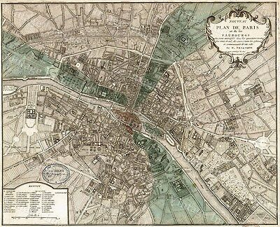 HUGE VINTAGE historic MAP OF PARIS FRANCE 1740 OLD ANTIQUE STYLE MAP art print