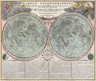 HUGE VINTAGE ANTIQUE STYLE 1707 TABULA SELENOGRAPHIA lunar Map of the Moon art