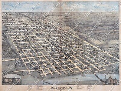 Large Old Historical 1873 Bird's Eye Austin Texas Travis County Wall Street Map