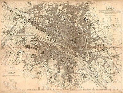 HUGE HISTORIC 1834 sduk Map VINTAGE eastern division PARIS city Fine art Print