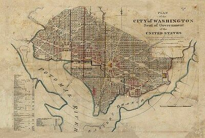 GIANT 1829 Historical map of Washington D.C. Antique wall Map AMERICA Capitol