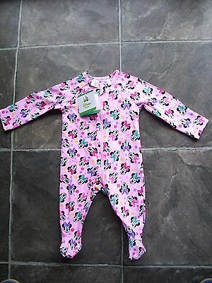 BNWT Baby Girl's Minnie Mouse Cotton Knit Coverall/Romper/Sleeper Size 00