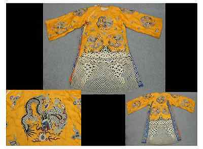 Chinese Qing Dynasty Embroidery Yellow Robe Dragons / Length 147cm