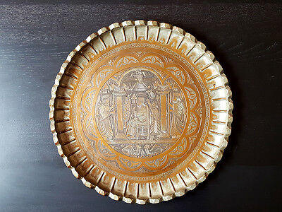 Vintage Middle Eastern Royal Hand Hammered Tinned Brass Copper Tray 17 1/2""
