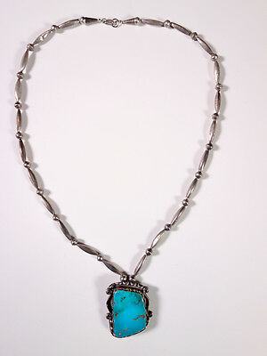 Vintage NAVAJO Light Blue Large Turquoise Pendant and Necklace 1970's