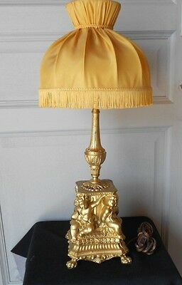 Antique French gilded spelter Lamp light W/ shade & putti , Angels, Cherubs