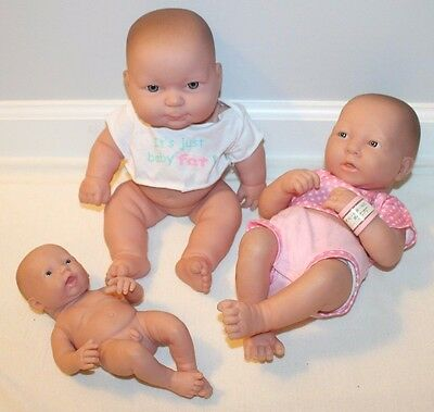 Lot of 3 Berenguer Baby Dolls BOY Girls Anatomically Correct Realistic Fat 14""