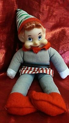 "Vintage Happy Elf Rubber Face Pixie Felted Body, 12"" L"