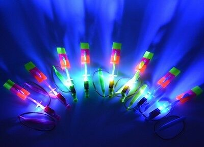 Bulk Lot 20 Sling Shot LED Flying Helicopters Kids Toy Party Favors