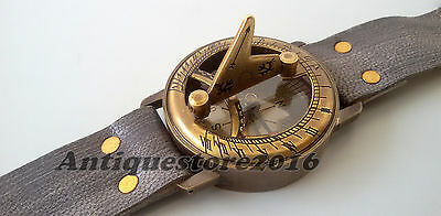 Vintage Style Antique Steampunk Wrist Solid Brass Compass & Sundial-Watch Gift