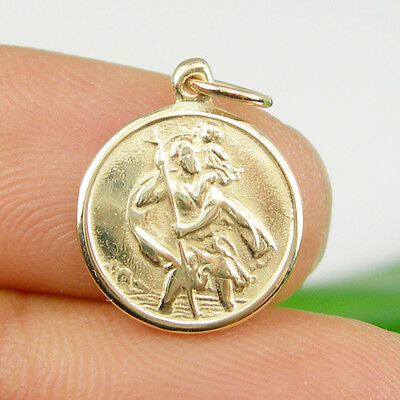 Saint Christopher Medallion Charm Pendant, Genuine 375 9ct 9k Yellow Gold - C174