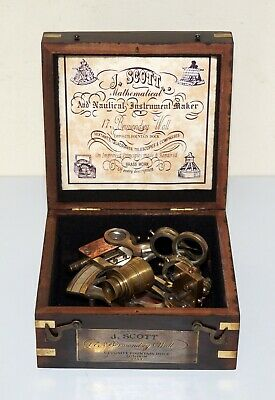 Nautical maritime brass nautical sextant marine ship travelling with wooden box