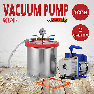2 Gallon Chamber Kit with 3CFM Vacuum Pump Degassing Conditioning Gauge ON SALE