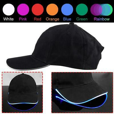 LED Lighted up Hat Glow Club Party Baseball Hip-Hop Adjustable Sports Cap #DA