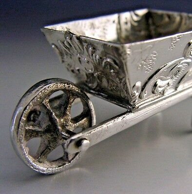 SOLID SILVER MINIATURE WHEEL BARROW c1900 PIN DISH / CUSHION ANTIQUE