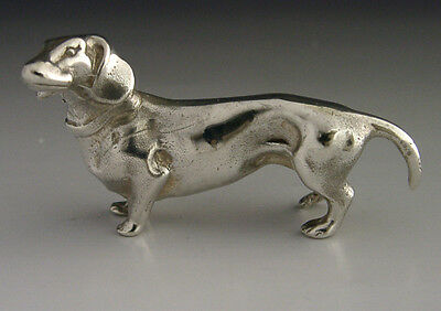 English Solid Sterling Silver Miniature Dachshund Dog Figure 1983