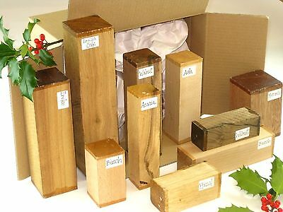 Woodturning spindle blanks gift selection box.  Mixed sizes and species