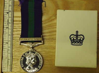 Original Military General Service Medal GSM With Canal Zone Clasp RASC (4194