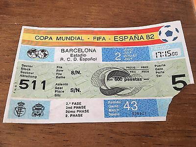 Entrada Ticket World Cup Spain 1982 Argentina Brazil Brasil Match 43 Wc82