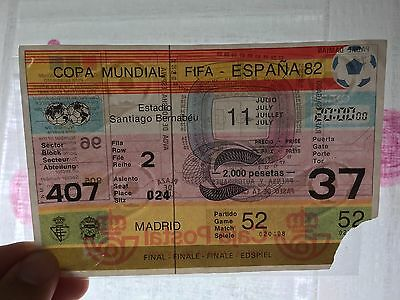 Entrada Ticket World Cup Spain 1982 Wc82 Italy West Germany Mundial