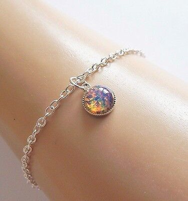 Fire Opal Silver Ankle Bracelet Simulated Fire Opal Anklet