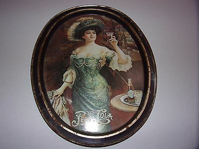 Vintage Pepsi Cola Tin Serving Tray W/Victorian Lady Rough Condition
