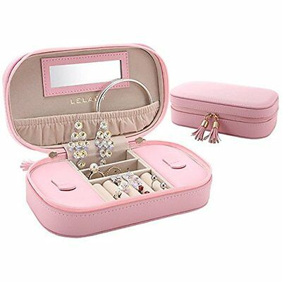 LELADY Travel Jewelry Storage Organizer Box Case with Mirror for Rings, Earring,