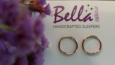 1 x pair 12mm 14K Rose Gold Plated Solid Sterling Silver Plain Sleeper Earrings