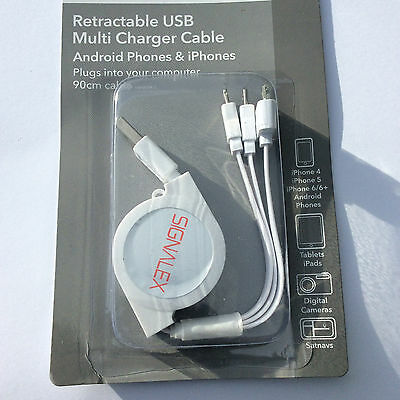 Retractable usb multi charger cable 3 conections in1 Signalex iphones 5/5s/6s+6