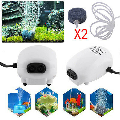 1~2 Outlet Aquarium Fish Tank Oxygen Air Pump 110V & Rubber pipe & Air stone New