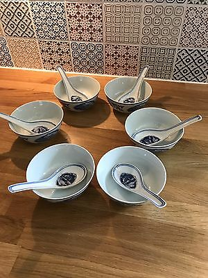 Chinese Rice Bowls - Set Of Six With Spoons