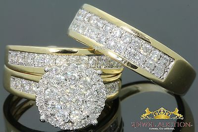 14K Yellow Gold Trio Diamond Engagement Ring Set His & Her Bridal Wedding Band
