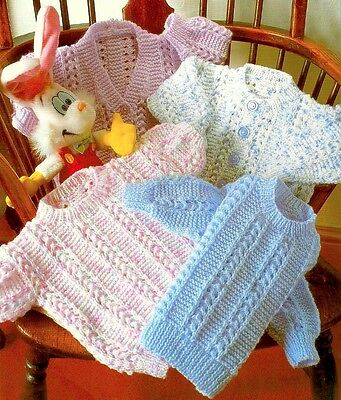 (848) Baby Child Textured Cardigans and Sweaters DK Knitting Pattern, 14-28''